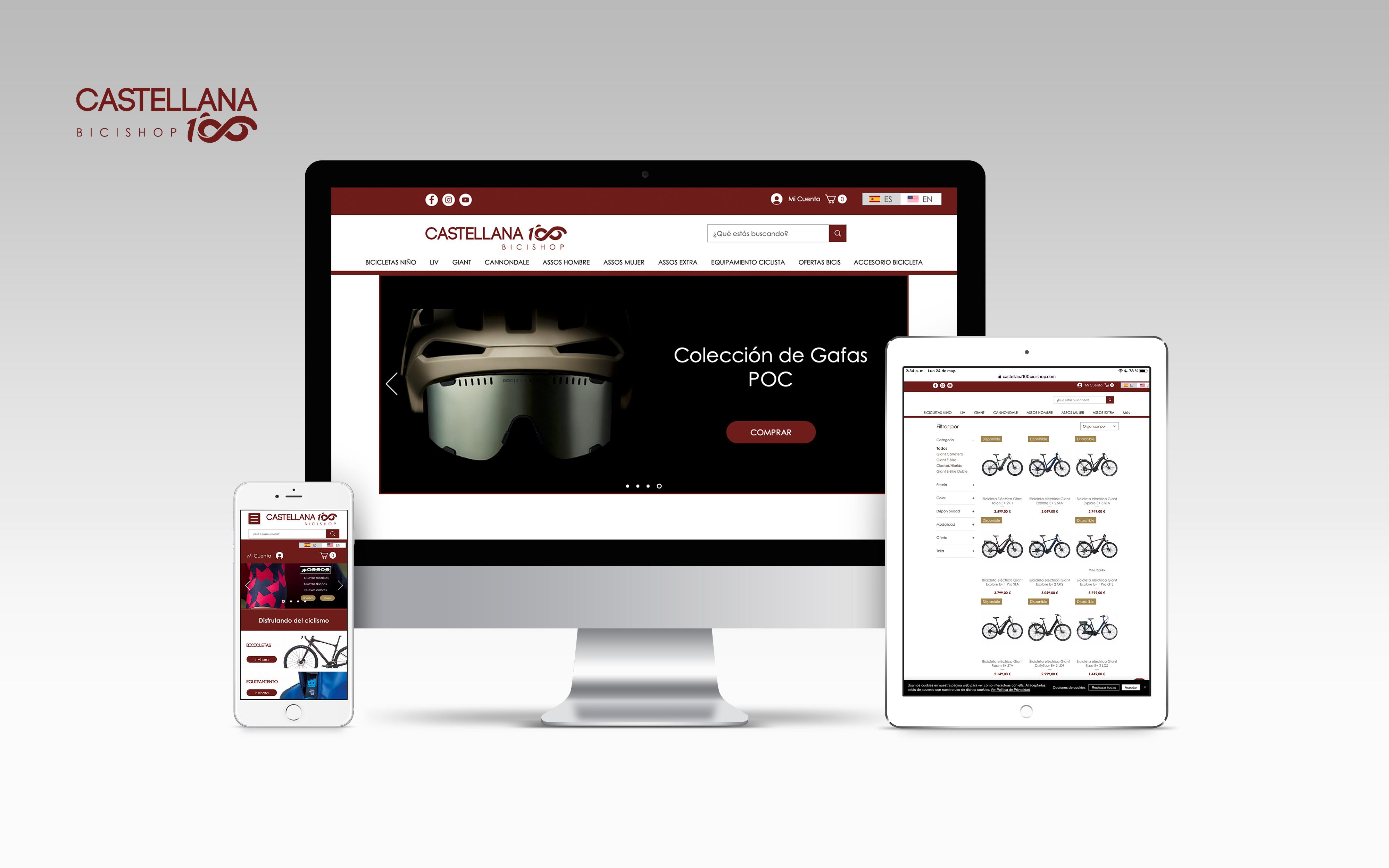Castellana 100 Bicishop Ecommerce de ciclismo, Wix Store, páginas dinámica...