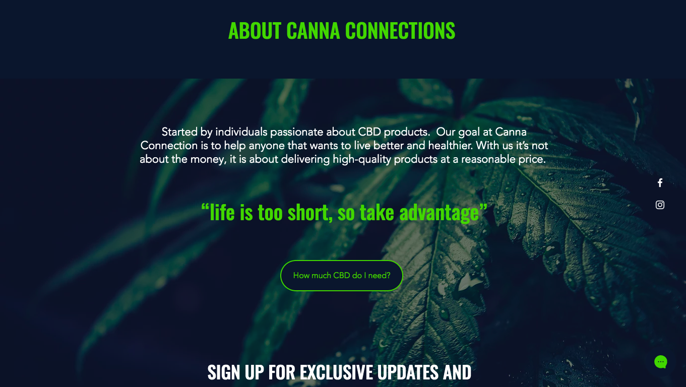 Canna Connection Complete E-commerce Online Store for a new CBD bus...