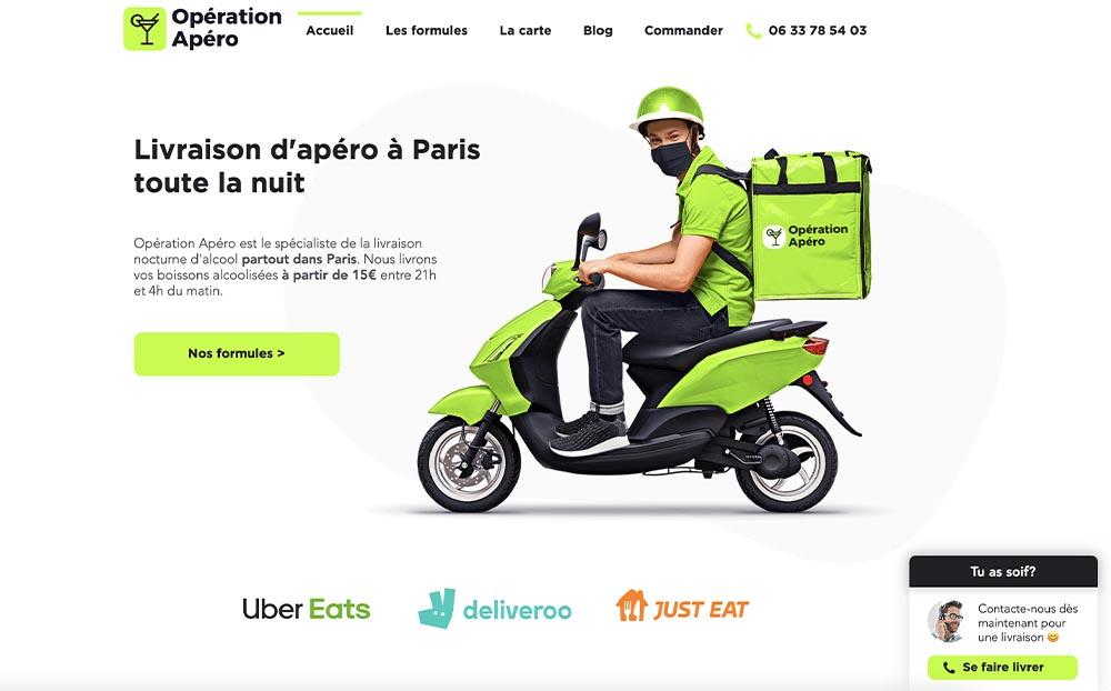 Opération Apéro Paris Création de site Wix pour une franchise de livrais...