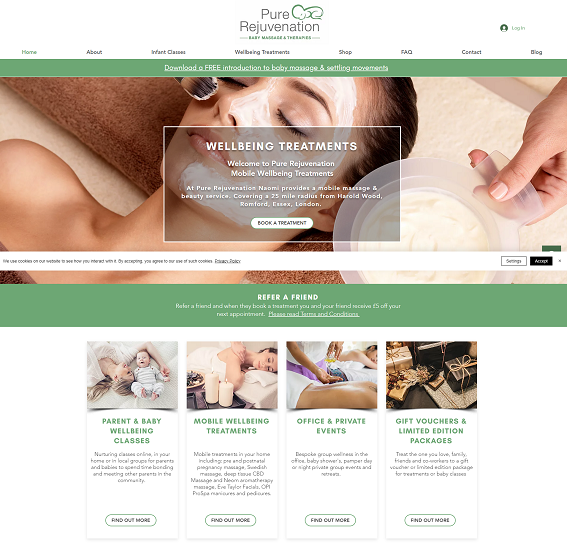 Pure Rejuvenation Redesigned website for Baby Massage and Holistic T...