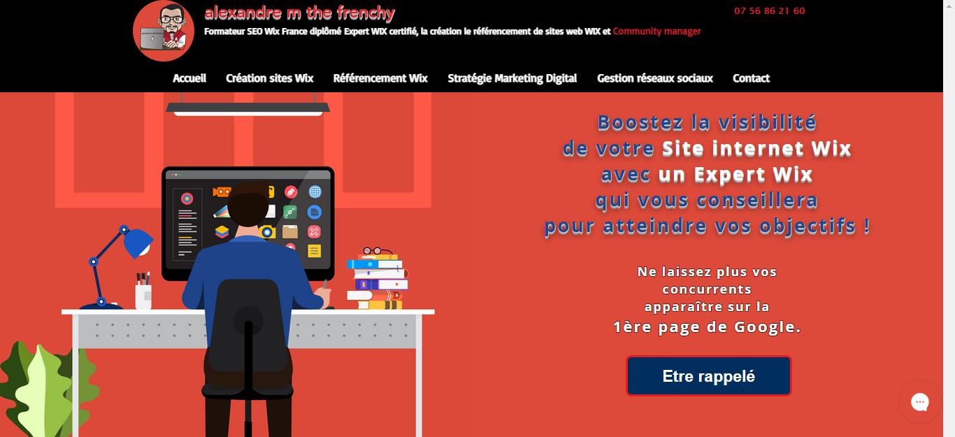 alexandre m the frenchy formateur SEO Wix Diplômé dans la création le référencement de sites internet Wix Création du site internet, charte graphique sur me...