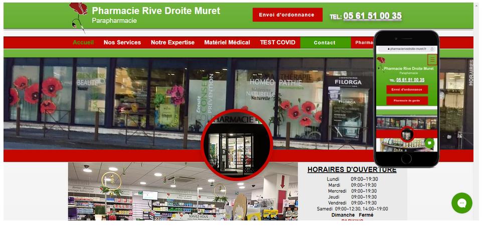 Pharmacie parapharmacie à Muret 31600 en Haute Garonne près de Toulouse la Pharmacie Rive Droite et toute son équipe Création sur mesure du site internet vitrine avec ...
