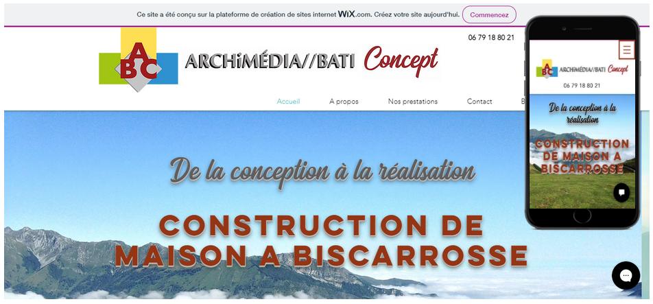 ABC Archimédia//Bati Concept maître d'œuvre dans la conception et réalisation de construction de maison à Biscarrosse dans les Landes SEO complet + ligne de code sur mesure