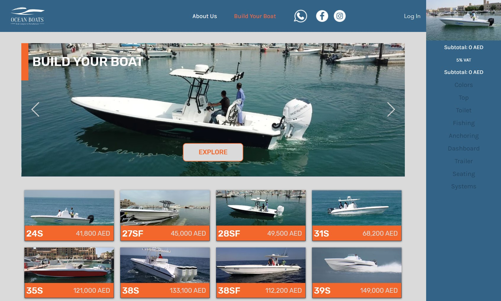 Ocean Boats A website for custom ordering of boats. Built on E...